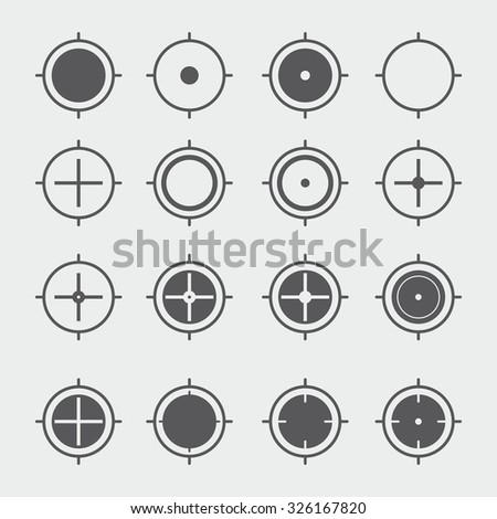 Location Crosshair Icons - stock vector