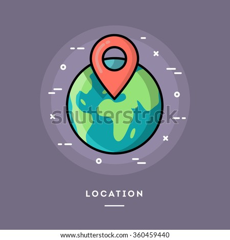 Location, flat design thin line banner, usage for e-mail newsletters, web banners, headers, blog posts, print and more - stock vector