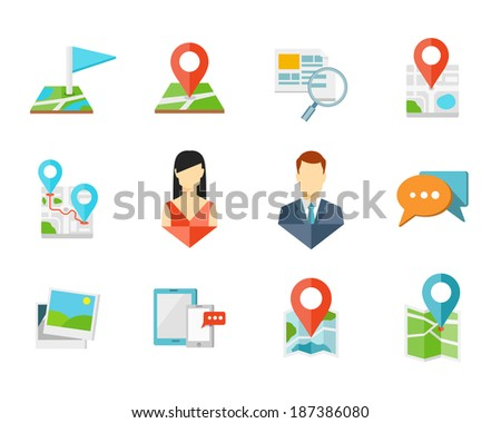Location flat icons with pin on map, man and woman signs - stock vector