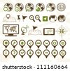 Location icons military style - stock photo