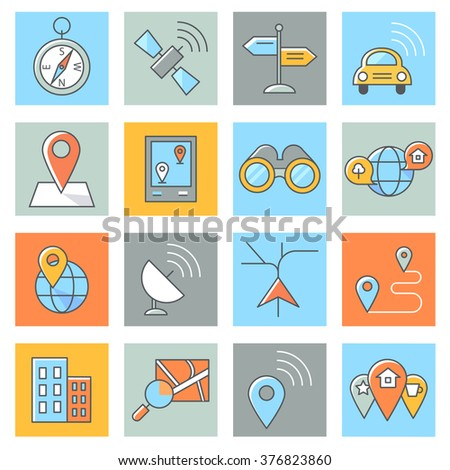 Location icons, thin line, flat design - stock vector