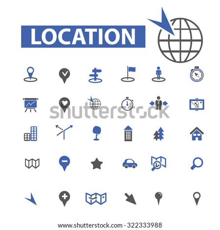 location, map icons - stock vector