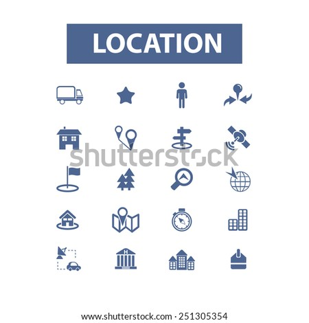 location, map, navigation, pin, marker, road, route, trip isolated design flat icons, signs, illustrations vector set on background - stock vector
