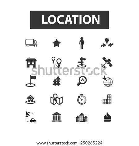 location, map, navigation, route flat icons, signs, illustration set, vector - stock vector