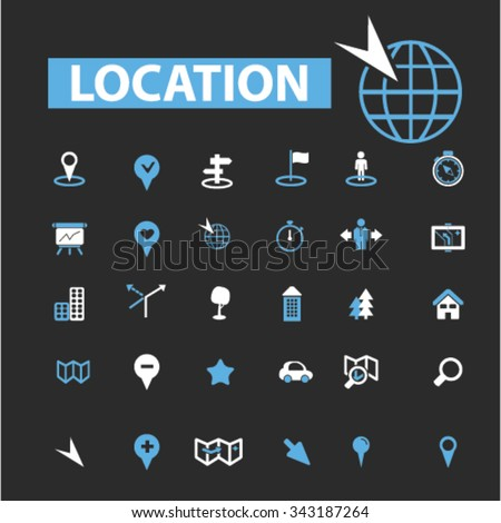 location, map, route  icons, signs vector concept set for infographics, mobile, website, application  - stock vector