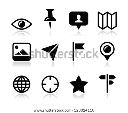 Location map travelling icon set - vector - stock vector