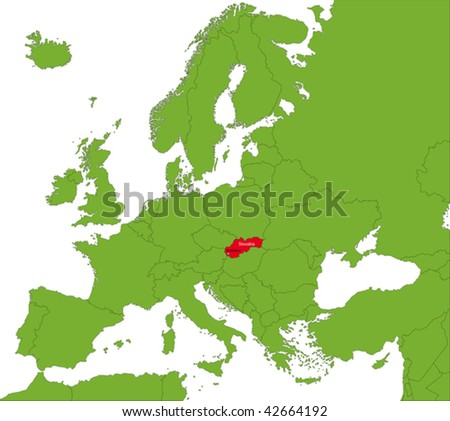 Location of Slovakia  on the Europa continent - stock vector