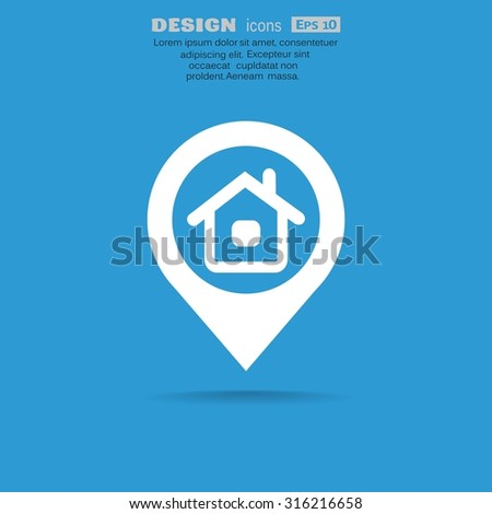 location of the house or the pointer web icon. vector design - stock vector