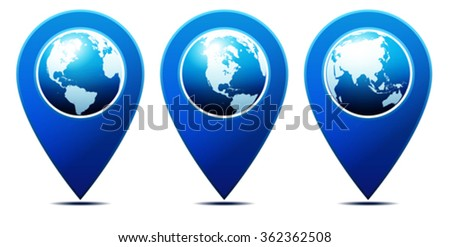 Location Pointer with World Globe - stock vector