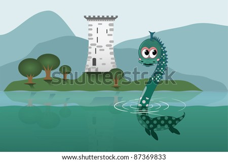 Loch Ness - stock vector