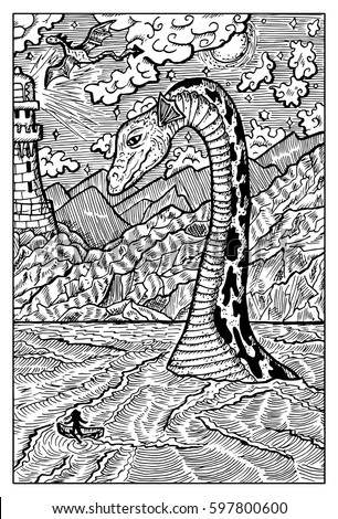 loch ness lake monster nessie hand drawn vector illustration engraved line art drawing