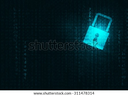 Lock abstract blue futuristic english code abstract vector backgrounds  - stock vector