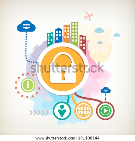 Lock and city on abstract colorful watercolor background with different icon and elements. Design for the print, banner. - stock vector