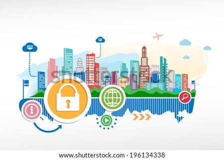 Lock and cityscape background with different icon and elements. Design for the print, advertising. - stock vector