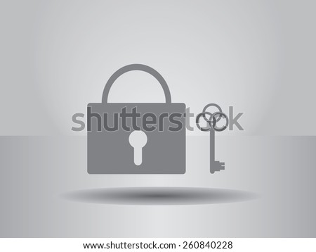 lock and key  icon, vector illustration. Flat design style - stock vector