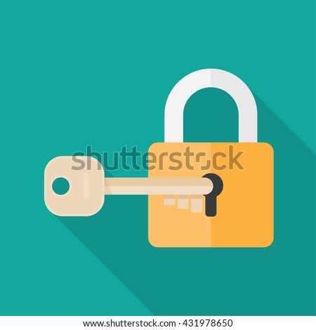 Lock and key. lock with key.  Key lock icon. Vector lock icon key. Lock and key in flat style. Padlock with key. Sign unlocking, access, password. Lock icon. Key icon. - stock vector