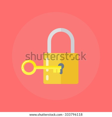Lock and key or lock with key icon  in flat style. Padlock with key. Sign unlocking, access, password.  - stock vector