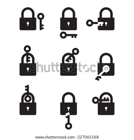 Lock and Key - set of black and white icons - stock vector