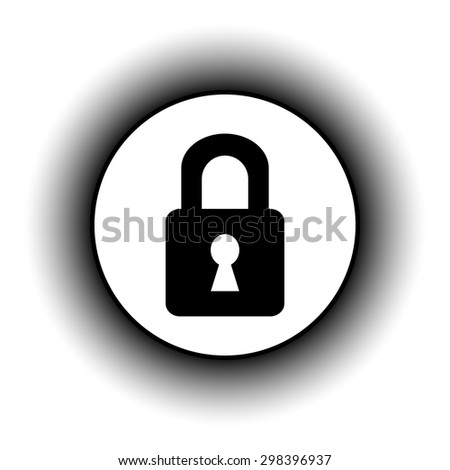 Lock button on white background. Vector illustration.