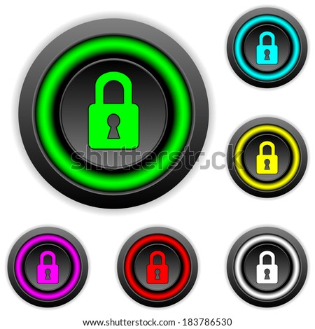 Lock buttons set on white background. - stock vector