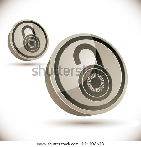 Lock 3d icon isolated on white background, open and closed versions, vector illustration.