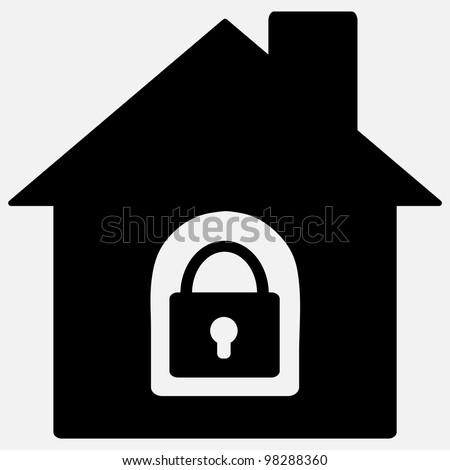 Lock house icon - stock vector