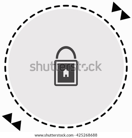 Lock house icon Flat Design. Isolated Illustration. - stock vector