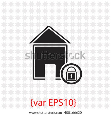 Lock house icon. Lock house vector. Simple icon isolated on gray background. - stock vector