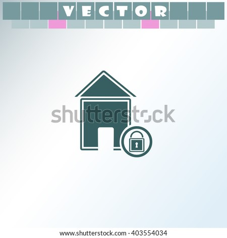 Lock house icon. Lock house vector. Simple icon isolated on light background. - stock vector