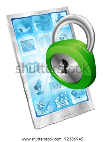 Lock icon coming out of phone screen concept - stock vector