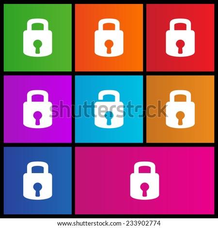 Lock icon. Flat design style modern vector illustration. Metro style - stock vector