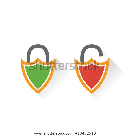 Lock icon in flat style - stock vector