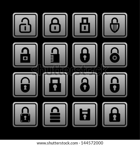 Lock icon set for web - stock vector