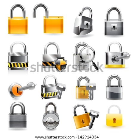 Lock icon set. Vector
