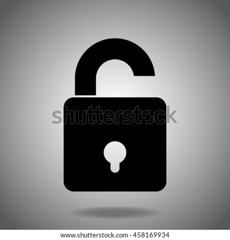 Lock icon vector. Flat icon on gray background. Simple illustration.