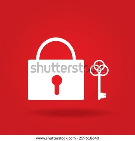 lock icon, vector illustration. Flat design style. - stock vector