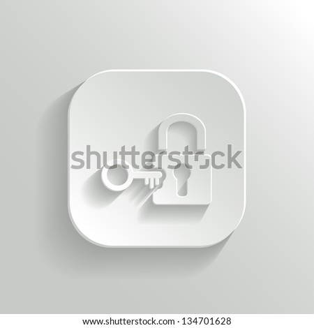 Lock icon - vector white app button with shadow - stock vector