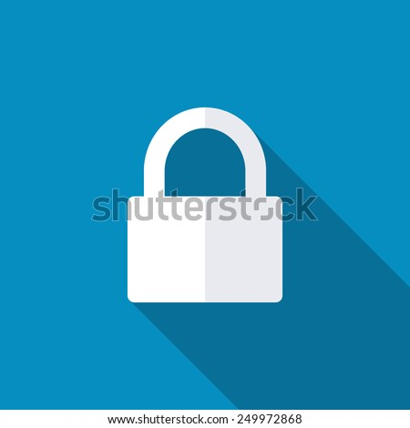 Lock icon with background. Long shadow - stock vector
