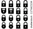 Lock icons set - stock vector