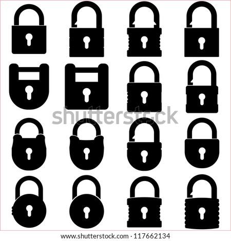 Lock icons set - stock vector