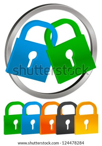 Lock Icons with color variation - stock vector