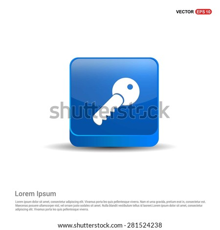 Lock Key Icon - abstract logo type icon - blue 3d button background. Vector illustration - stock vector