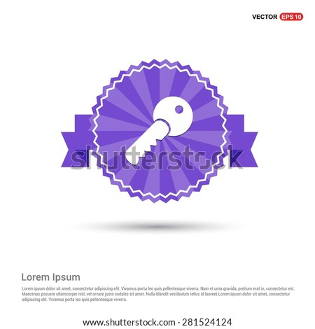 Lock Key Icon - abstract logo type icon - Retro vintage badge and label Purple background. Vector illustration - stock vector