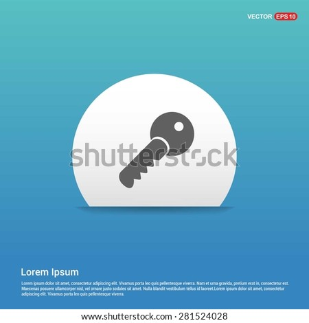 Lock Key Icon - abstract logo type icon - white sticker on blue background. Vector illustration - stock vector
