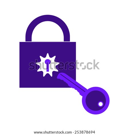 lock key isolated illustration protection - stock vector