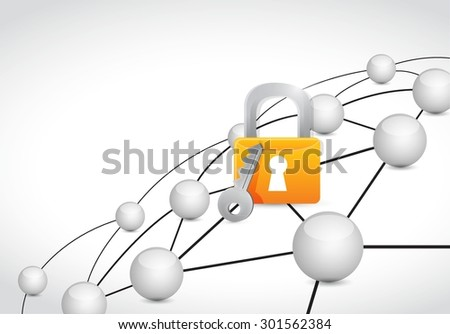 lock link sphere network connection concept illustration design graphic background - stock vector