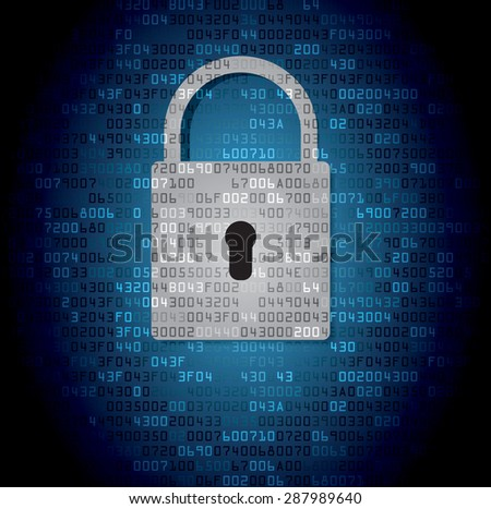 Lock on background with code. Vector illustration