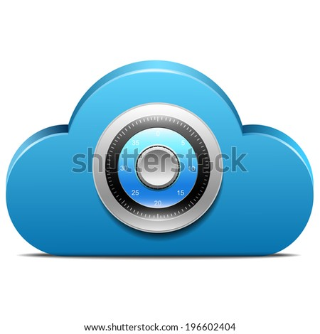 Lock on cloud server - stock vector