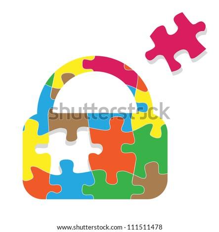 Lock padlock security safeguard puzzle vector background concept - stock vector