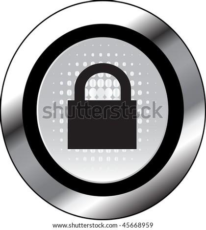lock sign icon button - stock vector